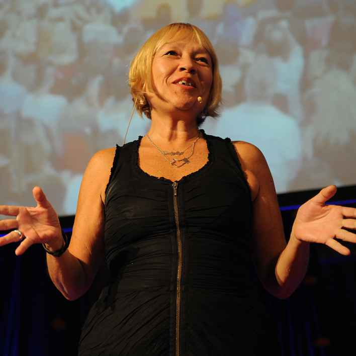 Cindy Gallop speaking at an event.